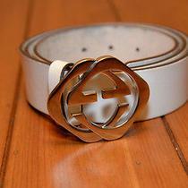 Men's Gucci Belt-White  Interlocking g's Size 34 Pre-Owned Photo
