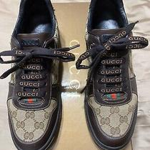 Men's Gucci 'Gg Plus' Brown Leather Sneakers Size 6.5 G Us 7.5 Photo