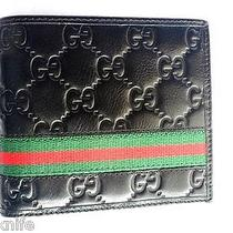 Men's Gucci Leather Wallet Black  New Bifold Men Gucci Wallet  Photo