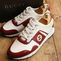 Men's Gucci Red White Leather Logo Trainers Sneakers Uk 7 Us 8 Eu 41 Photo