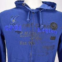 Men's Guess Dark Blue Full Zip Up Hoodie Sweater 100% Cotton Hooded Size M Photo
