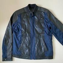 Men's Guess Jacket Logo Faux Leather Black Blue Bomber Size L Photo
