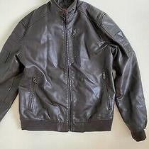 Men's Guess Jacket Logo Faux Leather Brown Elegant  Size L Photo