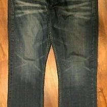 Men's Guess Jeans-Dark Blue Wash-Size 36-Slim Bootcut-Inseam Is 32 Photo