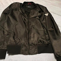 Mens Guess Zip Up Black Bomber Jacket Size Xl Style 117an380 Used Photo