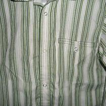 Men's High End Patagonia Long Sleeve Green Stripe Organic Cotton Snap Shirt Xs Photo