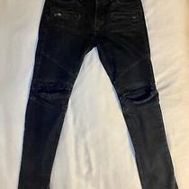 Men's Hudson Blinder Skinny Biker Jeans-Black Distressed Size 32 Photo