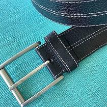 Mens Hugo Boss Black Leather Belt Sz 38 Signed Buckle Pre-Owned Photo