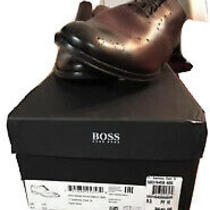 Men's Hugo Boss Dress Shoes Size 9.5 Lace Up Oxford  Brown Leather  Photo