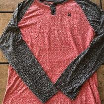 Men's Hurley Red and Black Heathered Long Sleeve Shirt- Size Medium- Pre-Owned Photo