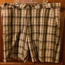 Men's Hurley Tan Plaid Shorts Size 40  Photo