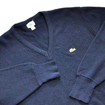Men's Izod-Lacoste Vintage Acrylic v-Neck Sweater. Navy Blue. Large Photo