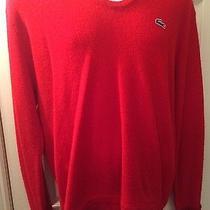 Men's Izod Vintage Lacoste Red v-Neck Sweater Jumper Sz Xl Acrylic Photo