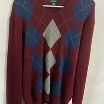 Mens J Crew Argyle Sweater Burgundy Pull Over Long Sleeve 100% Lambs Wool Sz L Photo