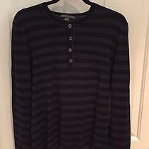 Men's John Varvatos Striped Wool Henley Large  Photo
