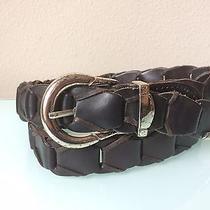 Men's Kenneth Cole Black Leather Braided Linked Belt Size 34 Photo
