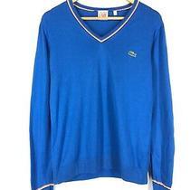Men's Lacoste Live v-Neck Cardigan Blue Long Sleeve Cotton Jumper Pullover S - M Photo