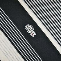 Men's Lacoste Long Sleeve Polo Neck Top Striped Size 5 / L Pit - Pit 22.5