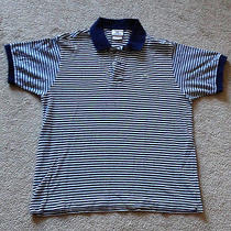 Men's Lacoste Short Sleeve Golf Polo Shirt Sz 5 Med Blue White Striped Croc Logo Photo