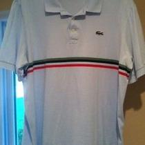 Men's Lacoste Sport Polo Shirt Light Blue W/ Green Red & Navy Blue Stripes 6 Photo