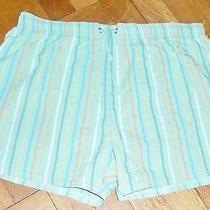 Men's Lacoste Stripped Swim Trunks Coral Green & Other Aquatic Colors Size 5 M  Photo
