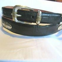 Men's Leather Arden Black Golf Belt Sz 44 Silver Tipped Width 1 1/6