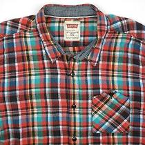 Men's Levi's Flannel Long Sleeve Shirt Bright Color Plaid Patch Pocket Large/l Photo
