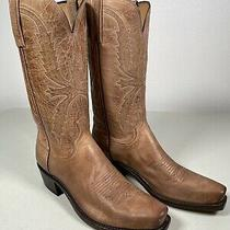 Men's Lucchese Boots Crayton Tan Genuine Leather Handmade Size 8 n1547.74 Photo