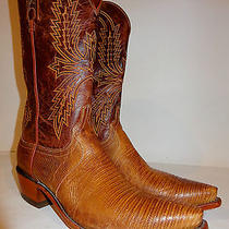 Men's Lucchese Brown Genuine Lizard 1883 Coybow Western Boots 10 D Made in Usa Photo