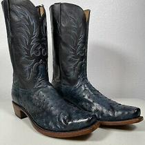 Men's Lucchese Ostrich Boots Elgin Navy Blue Genuine Handmade 14 n1188.73 Photo