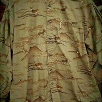 Men's M Columbia River Lodge Shirt - Deer - Bucks - Stags - Grayish Brown Photo