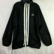 Men's M Vintage 90's Adidas Mesh Lined Nylon Windbreaker Black Parka Jacket 20k Photo