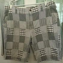Men's Madras Shorts Size 38 Black Gray Cotton Preppy Golf by Express Free Ship Photo