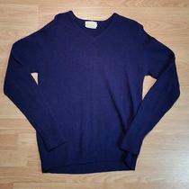 Men's Mark One Purple v-Neck Lambs Wool L/s Sweater Size L/large Photo