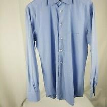 Men's Medium Ermenegildo Zegna Blue Soft Check Dress Shirt Auction 9.99 Photo