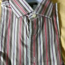 Men's Medium Express Fitted Black/brown Striped Button Down With Contrast Cuffs Photo
