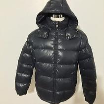 Men's Moncler Maya Lacquered Down Jacket Size 4 Large Navy Photo