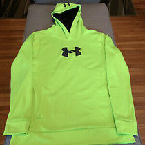 Mens Neon Green Under Armour Loose Pullover Coldgear Storm Hoodie Size Medium Photo