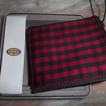 Men's New With Box Fossil Red Plaid Wallet  Photo
