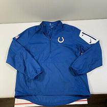 Men's Nike Nfl Indianapolis Colts 1/4 Windbreaker Jacket Size L Blue Polyester Photo