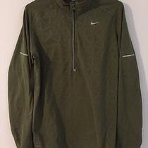 Men's Nike Running Element 1/2 Zip Pullover Jacket Thumb Holes L Large Green Guc Photo