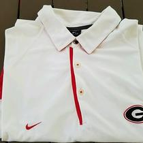 Men's Nike Uga Georgia Bulldogs Coaches Dri-Fit Polo Size Xxl White 75 Photo
