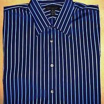 Men's Nwot Express Modern Fit 100% Cotton Blue Striped Long Sleeve Shirt Xl Photo