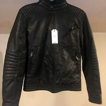 Men's Nwt Express Black Faux Leather Moto Jacket Sz Xs Photo