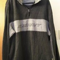 Mens Old Navy Blue Pullover Sweatshirt Zip Top Black With Gray Xl  Photo