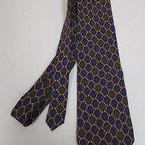 Men's Paola Hermes Red Silk Neck Tie Blue Green Diamonds Horsebit 56 1/2