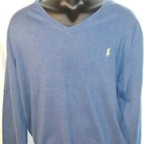 Men's Polo Ralph Lauren Blue Pima Cotton v-Neck Sweater Sz L Photo