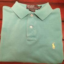 Men's Polo Ralph Lauren Polo Shirt Custom Fit M Blue Yellow Teal Used S/s Photo