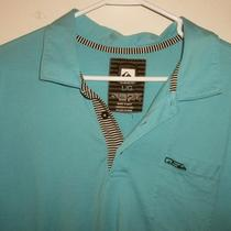 Men's Polo Shirt Quicksilver Large Aqua Blue Photo