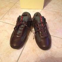 Men 'S  Prada Brown Leather America Cup Sneakers. Size 8.5 Photo